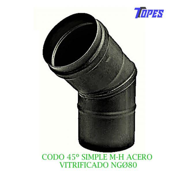 CODO 45º SIMPLE M-H ACERO VITRIFICADO NGØ80