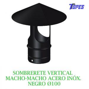 SOMBRERETE VERTICAL MACHO-MACHO ACERO INOX. NEGRO Ø100