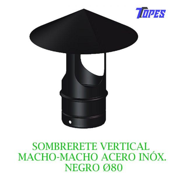 SOMBRERETE VERTICAL MACHO-MACHO ACERO INOX. NEGRO Ø80