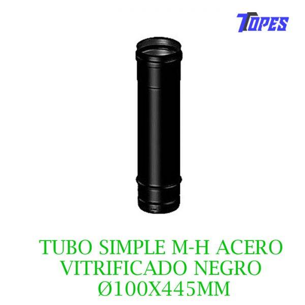 tubo-simple-m-h-acero-vitrificado-negro- Ø100X445mm-estufa-pellet-biomasa