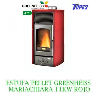 ESTUFA PELLET GreenHeiss MARIACHIARA 11KW ROJO