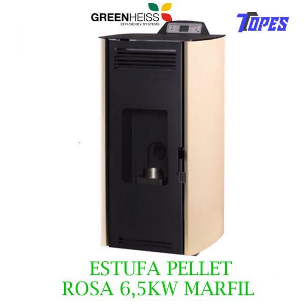 Estufa de pellet GreenHeiss Rosa Air Classic 7 marfil 6,5kW