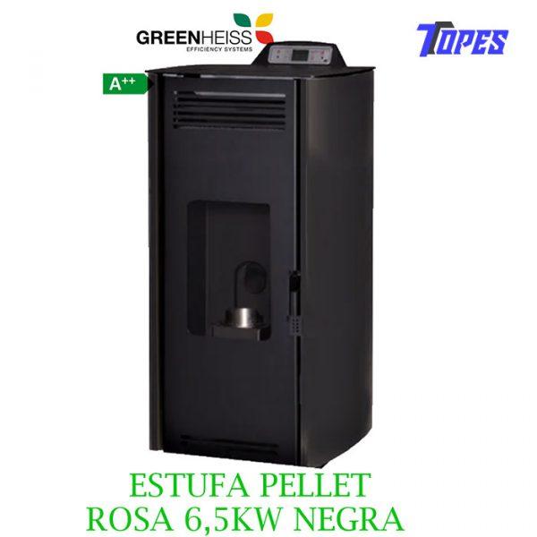 Estufa de pellet GreenHeiss Rosa Air Classic 7 antracita o negra 6,5kW