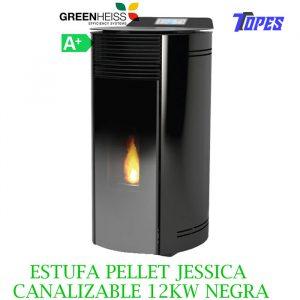 ESTUFA PELLET GreenHeiss Jessica CANALIZABLE 12KW NEGRA