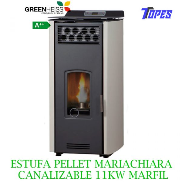 ESTUFA PELLET GreenHeiss Mariachiara CANALIZABLE 11KW MARFIL