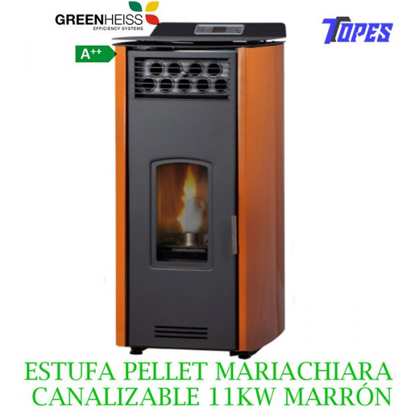 ESTUFA PELLET GreenHeiss Mariachiara CANALIZABLE 11KW MARRÓN