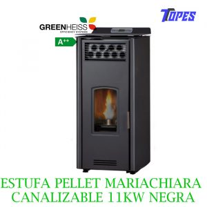 ESTUFA PELLET GreenHeiss Mariachiara CANALIZABLE 11KW NEGRA